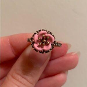 NEW Flower Ring Antique Gold & Pink Enamel Crystal